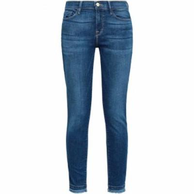 フレーム FRAME レディース ジーンズ・デニム ボトムス・パンツ Frayed high-rise skinny jeans Mid denim