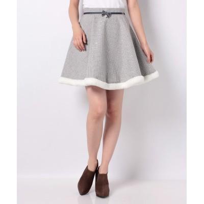 (Secret Honey/シークレットハニー)裾ファー千鳥柄サーキュラースカート/レディース グレー
