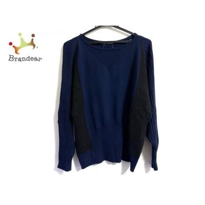 イッセイミヤケ ISSEYMIYAKE 長袖セーター サイズ2 M レディース - ネイビー×黒   スペシャル特価 20210419