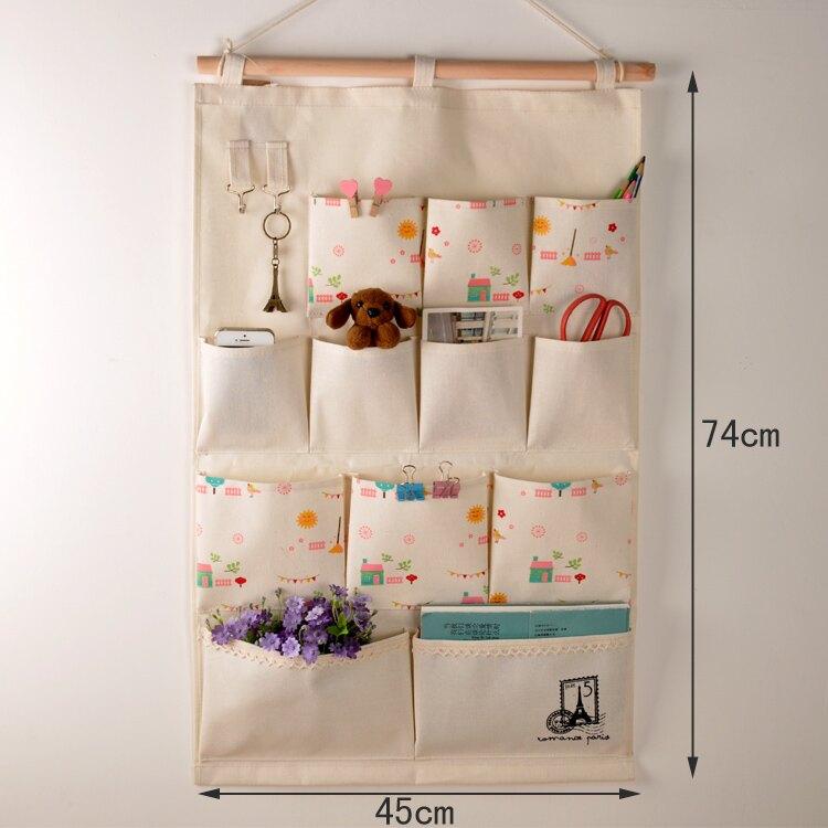 壁掛收納袋 儲物袋 門後鑰匙收納掛袋大容量棉麻佈藝牆上儲物袋壁掛式大號可愛收納袋『xy2260』