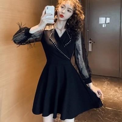 キャバ ドレス キャバドレス キャバワンピ キャバ衣装 ワンピース ミディアムドレス カシュクール Aライン クール チュール フェミニン