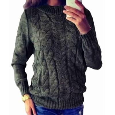 ファッション トップス Locryz NEW Gray Womens Size Medium M Cable-Knit Crewneck Sweater