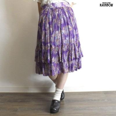 古着 紫 プリント シフォン 膝丈 スカート レディース ヴィンテージ (古着屋RAINBOW 通販) (btu1806022)