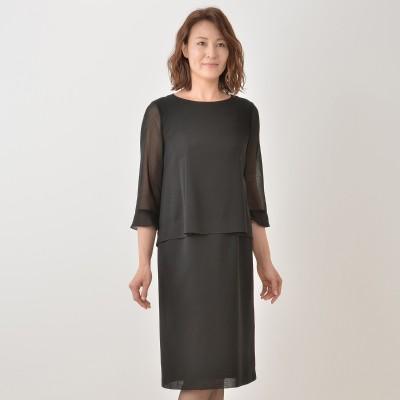 東京ソワール 絽織り2ピース風ウォッシャブルワンピース