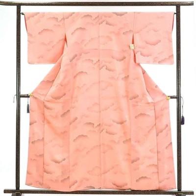 リサイクル着物 小紋 正絹ピンク地雲取り柄袷小紋着物