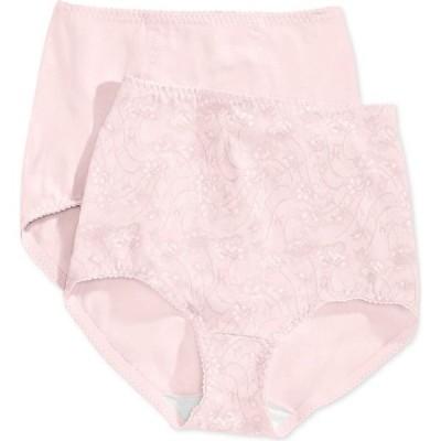 バリ Bali レディース インナー・下着 2点セット Light Tummy-Control Cotton 2-Pack Brief Underwear X037 Porcelain/Porcelain Lace w/Flowers