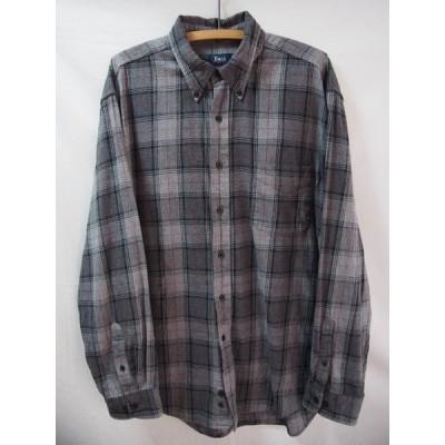 an05539/送料無料/GH BASS/グレーチェックコットンフランネルボタンダウンシャツ/XL