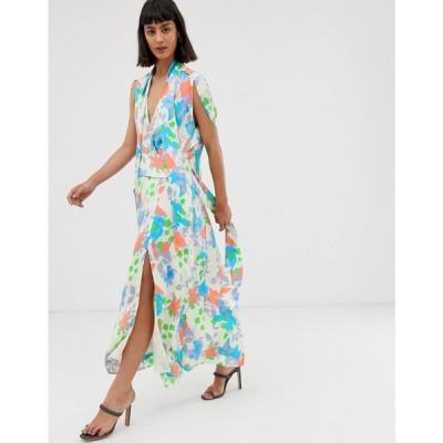 エイソス ASOS DESIGN レディース ワンピース ワンピース・ドレス plunge neck modern maxi dress with cape sleeves in floral print フローラル