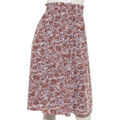 INTERPLANET (インタープラネット) レディース フラワープリントウエストゴムスカート 花柄 グレー F フリー