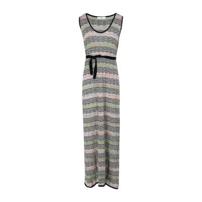 SUOLI ロングワンピース&ドレス グリーン 40 コットン 90% / レーヨン 6% / ナイロン 2% / 金属繊維 2% ロングワンピース
