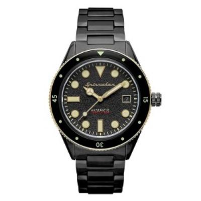 スピ二カー レディース 腕時計 アクセサリー Men's Cahill Mid-Size Automatic Black Stainless Steel Bracelet Watch 40mm Black