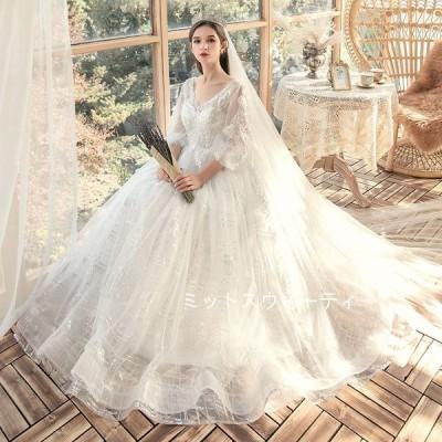 ウェデイングドレス 結婚式 二次会 大きいサイズ プリンセスラインドレス ロング丈 エンパイア ウエディングフォト ホワイト 花嫁 ブライダル 4XL 5XL 6XL 7XL