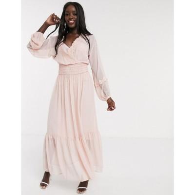 エイソス マキシドレス レディース ASOS DESIGN lace insert shirred waist maxi dress in dusky pink エイソス ASOS ピンク