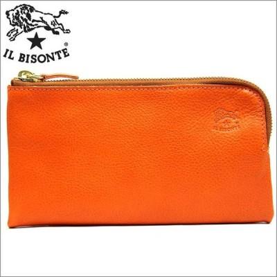 イルビゾンテ Wファスナー ハーフラウンドファスナー 二つ折り 長財布 オレンジ IL BISONTE ブランド c0862 セール