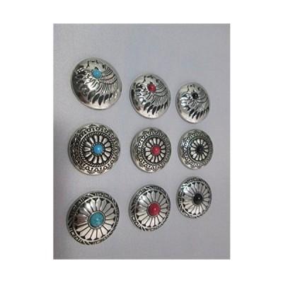 全国 コンチョ 9個 セット レザークラフト ターコイズ オニキス コーラル インディアン 飾り ボタン ネジ 式 ヴィンテージ 風 ハンド