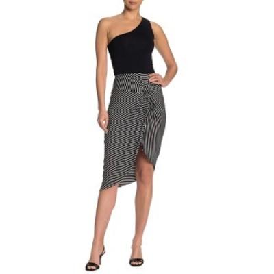 ソーシャライト レディース スカート ボトムス Twist Front Tulip Hem Knit Midi Skirt BLACKWHT S