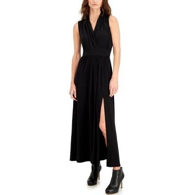 マイケルコース ワンピース トップス レディース Plus Size Side-Slit Maxi Dress Black