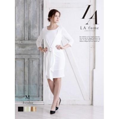 キャバ ドレス ワンピース パーティードレス LAfume 袖付きドレス 七分袖 シンプル 体型カバー ナイトドレス