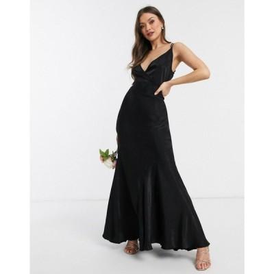 エイソス ASOS DESIGN レディース ワンピース キャミワンピ ワンピース・ドレス Bridesmaid washed satin cami maxi dress ブラック