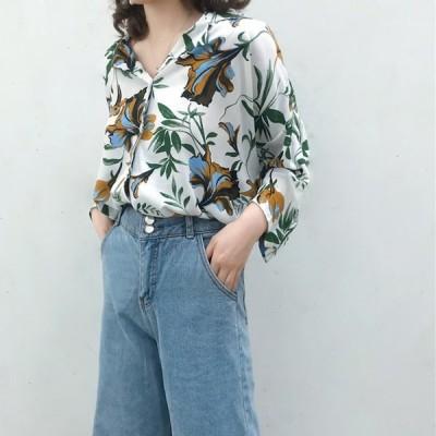 アロハシャツ フラワープリント 花柄 レディース トップス ゆったり オーバーサイズ