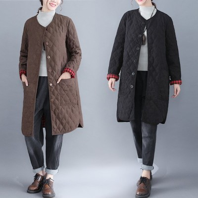 アウター レディース ブルゾン ジャケット ノーカラー コート キルティング 中綿 きれいめ シンプル ロング Good Clothes