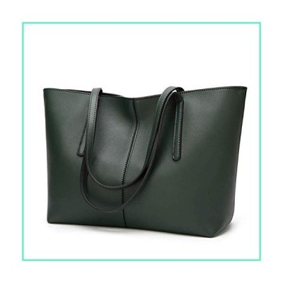 New bag is fashionable, simple, versatile, large-capacity tote bag, handbag, shoulder tote bag, PU women's bag. (Dark green)並行輸入品