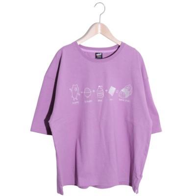 【スカラー】 KUMAZUSHI刺繍Tシャツ レディース パープル M ScoLar