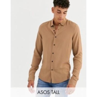 エイソス メンズ シャツ トップス ASOS DESIGN Tall regular fit viscose shirt in tan brown Tan