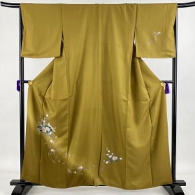 訪問着 美品 秀品 扇面 草花 金彩 黄土色 袷 身丈161cm 裄丈67cm M 正絹 中古