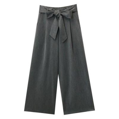 パンツ スラックス きれいめツイル美脚ウエストリボンワイドタックパンツ ウエストゴム
