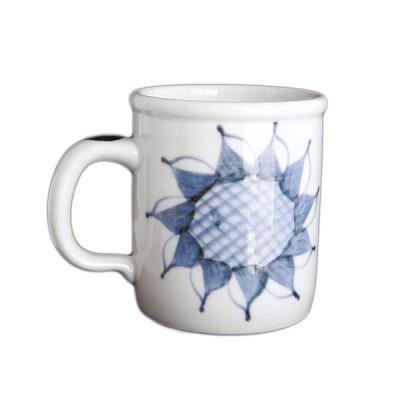 砥部焼 梅山窯 切立マグカップ(ひまわり)