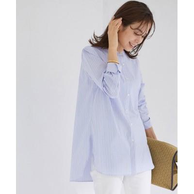 (ROPE'/ロペ)【21SS】ハイパワーブロードボサムチュニックノーカラーシャツ/レディース ブルー系(46)