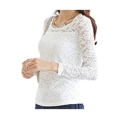 [スリーピングシープ] 選べる 2型 Tシャツ チュニック 長袖 総レース エレガント 花柄 レース 丸首 長袖 (1.ホワイトTシャツ M)