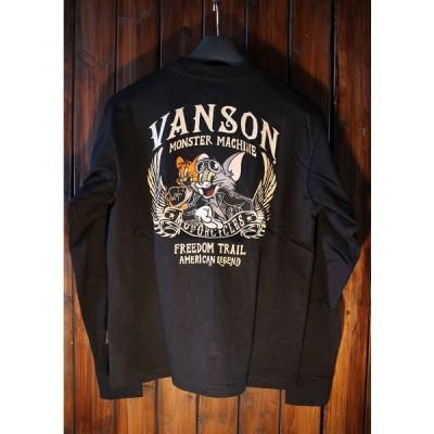 VANSON×Tom and Jerry トムとジェリーコラボ TJV-924 天竺ロンTee 長袖Tシャツ ブラック