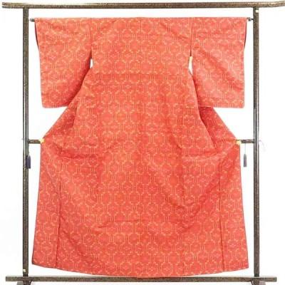 リサイクル着物 紬 正絹濃いピンク地袷紬着物