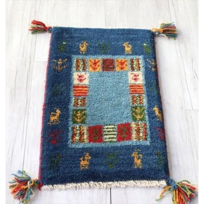 ギャッベ カシュガイ族の手織り ミニサイズ56x35cm ブルー ツートーン カラフルタイル 動物と植物モチーフ OUTLET 訳あり品 柄のずれ