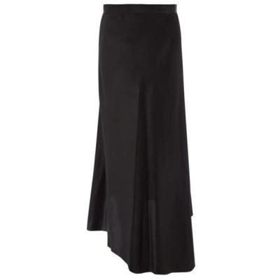 レイ Raey レディース ひざ丈スカート スリップスカート スカート Dip-hem silk-satin midi slip skirt Black