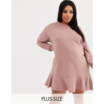 ミスガイデッド レディース ワンピース トップス Missguided Plus frill hem sweatshirt dress in pink