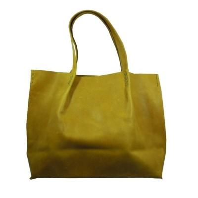 1枚革カウレザー トート ハンドバッグ 同素材本革ポーチ(脱着可)付属 レディース 牛本革 TOTE BAG (Yellow イエロー)
