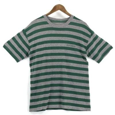 【古着】 EXPLORER ボーダーTシャツ グリーン系 メンズM 【中古】 n024915