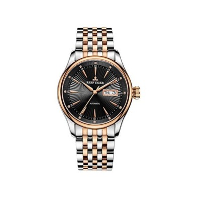 Reef Tiger Blue Dial Watches Rose Gold Tone Automatic Analog Dress Watch with Date Day RGA8232 (RGA8232-PBT) 並行輸入品