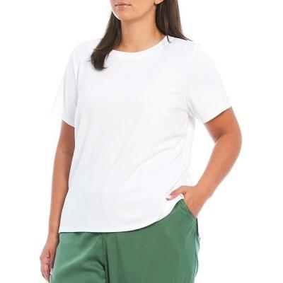 ヴィンスカムート レディース Tシャツ トップス Plus Size Short Sleeve Crew Neck Solid Knit Top Ultra White