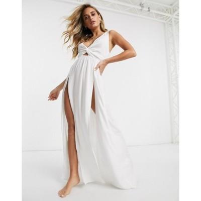 エイソス レディース ワンピース トップス ASOS DESIGN tie back beach maxi dress with twist front detail in white