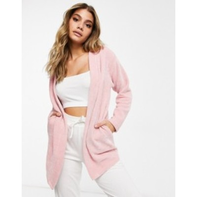 エイソス レディース カーディガン アウター ASOS DESIGN lounge co-ord chenille cardigan in pink Pink