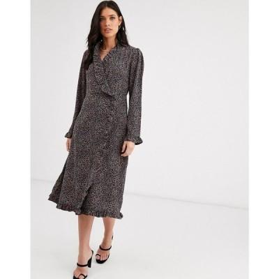 ワイ エー エス Y.A.S レディース ワンピース ラップドレス ワンピース・ドレス ruffle detail long sleeve wrap dress レオパード