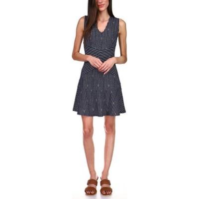 マイケル コース Michael Kors レディース ワンピース ワンピース・ドレス Striped Fit & Flare Dress Midnight Blue/white
