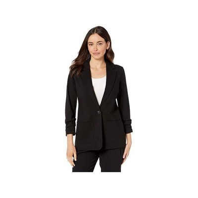Vince Camuto Ruched Sleeve Ponte Two-Pocket Blazer レディース コート アウター Rich Black