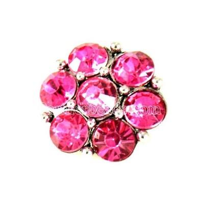 チャーム ブレスレット ハンドメイド Hot Pink Rhinestone Flower 20mm Charm For Ginger Snaps Interchangeable Jewelry
