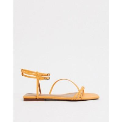 フー ワット ウェアー Who What Wear レディース サンダル・ミュール フラット シューズ・靴 Ivy spaghetti strap flat sandals in yellow leather