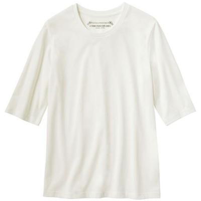 シンプルクルーネックTシャツ(5分袖)(洗濯機OK)/ホワイト/M